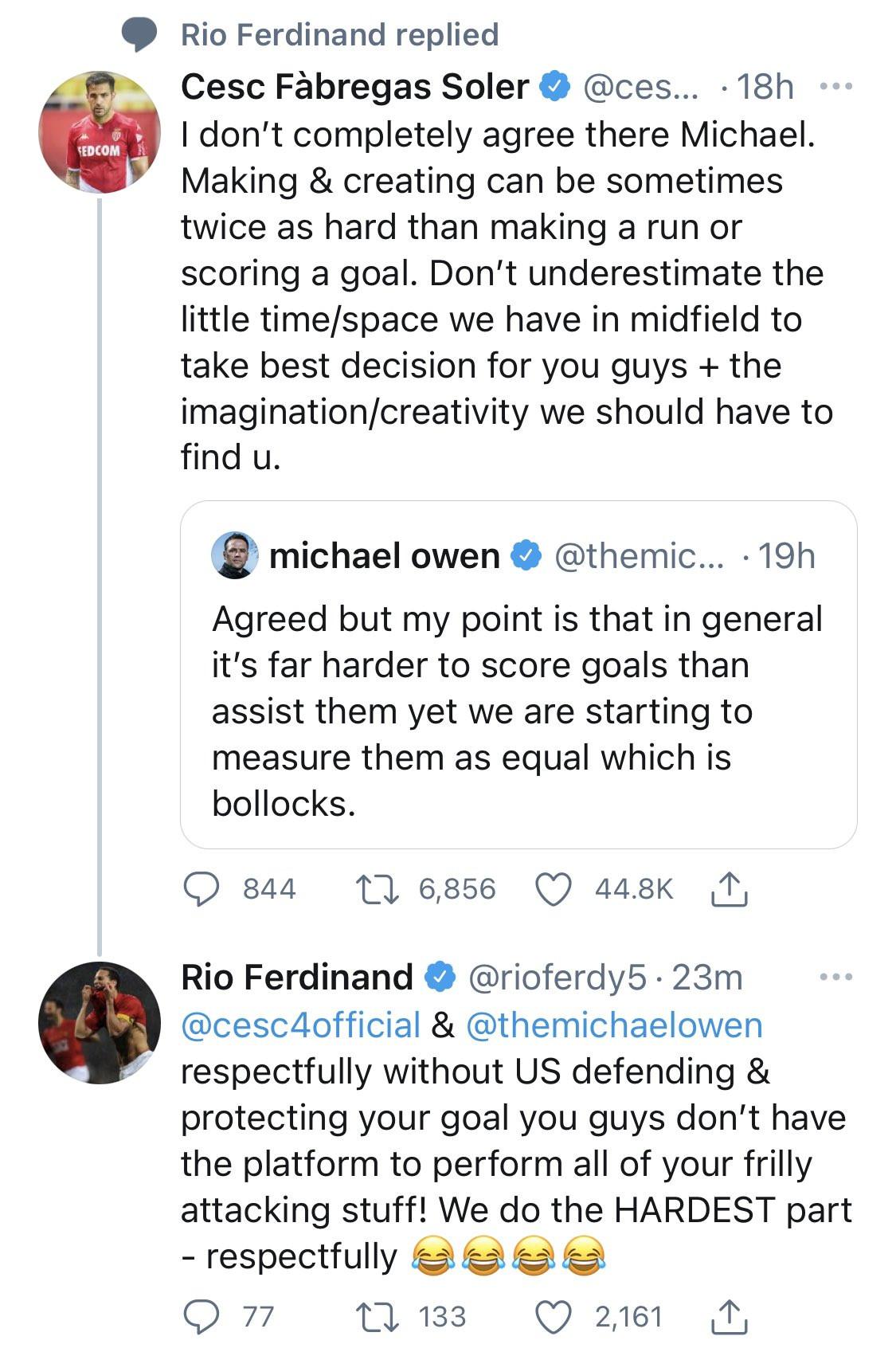 Twitter debate: Cesc Fabregas and Michael Owen, Rio Ferdinand argued that scoring goals is harder than assisting