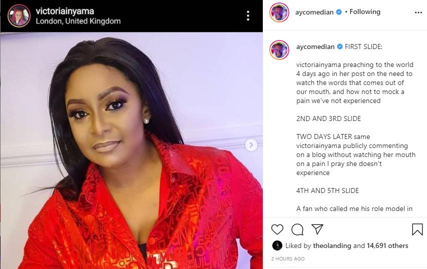Comedian AY calls out actress Victoria Inyama days after