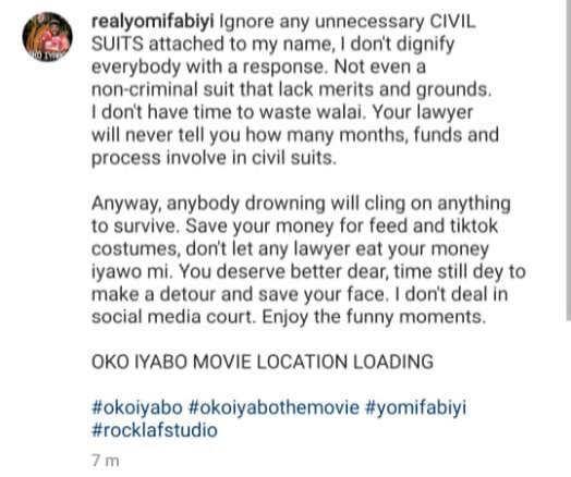 """Save your money for TikTok costumes"" Yomi Fabiyi tells Iyabo Ojo after she sued him for defamatory publication"