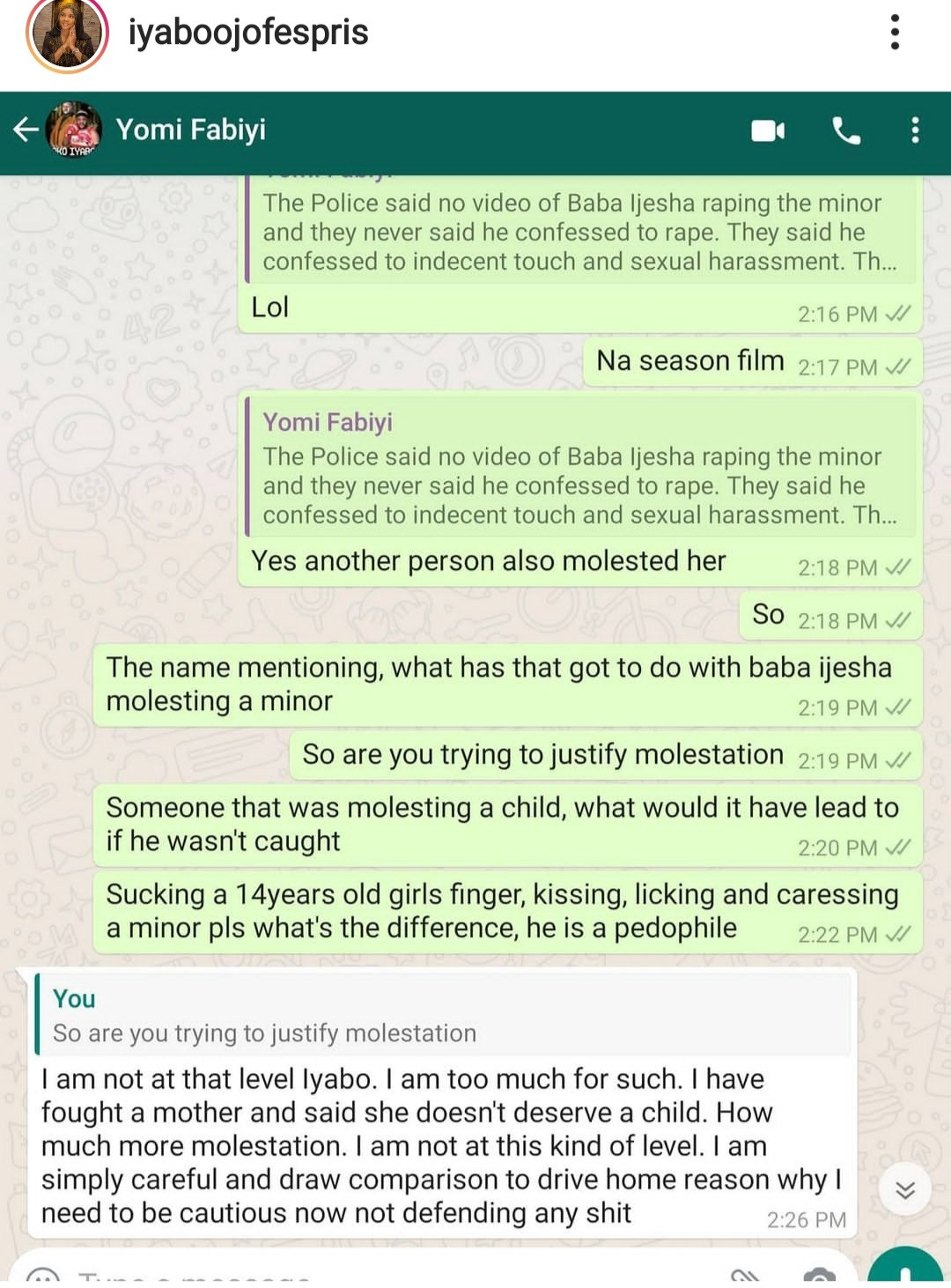 Iyabo Ojo releases her full chat with Yomi Fabiyi