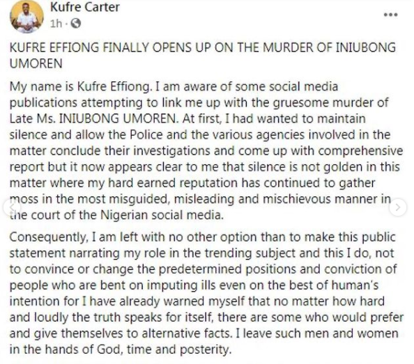 NDDC staff Kufre Effiong speaks up after he was accused of being involved in the gruesome murder of job seeker, Ini Umoren