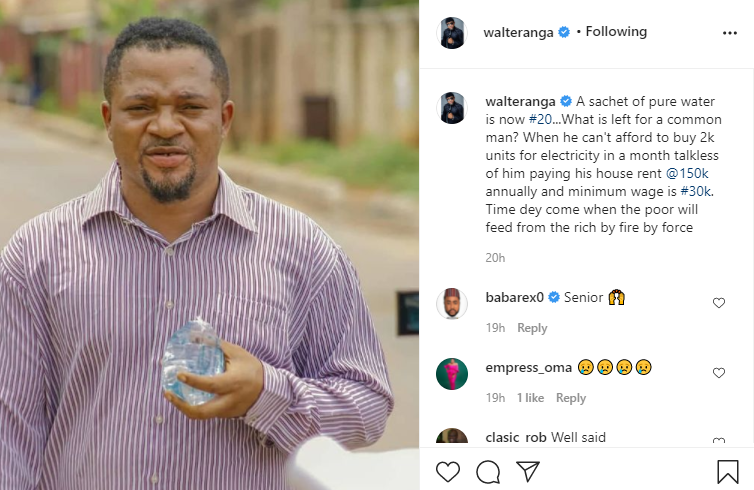 What is left for a common man? - Actor Walter Anga asks as he reacts to rising cost of living