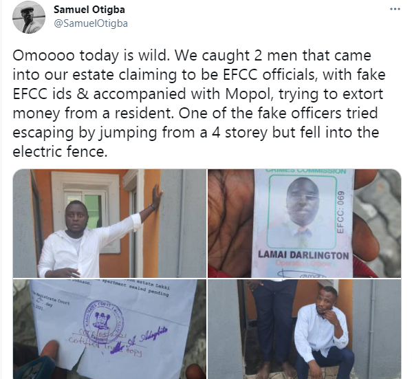 Fake EFCC operatives busted while trying to extort a Lagos resident with armed policemen (video)