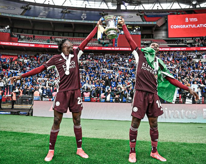 Iheanacho and Ndidi win their first FA Cup with Leicester City after 1 - 0  victory against Chelsea (Photos)