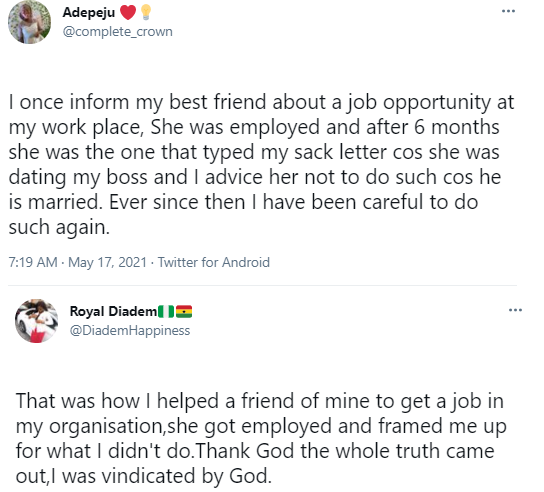 Woman narrates how jobless friend she informed of a job opening at her company betrayed her after she was employed
