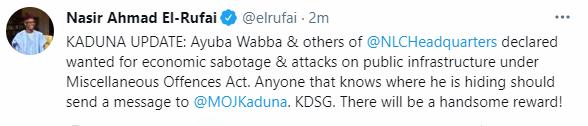 Kaduna state governor, Nasir El-Rufai, declares NLC president, Ayubba Wabba wanted