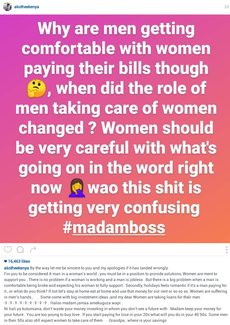 Men are getting comfortable with women paying their bills - Kenyan musician, Akothee advises young women to stop buying love