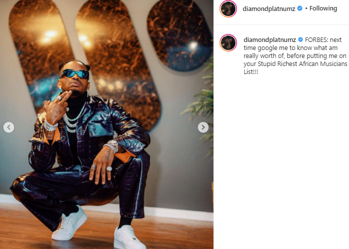 Musiciens africains les plus riches : Diamond Platnumz classé 20ème, le chanteur s'en prend à Forbes