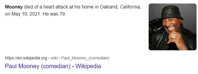 Comic actor, Paul Mooney dies of heart attack at 79