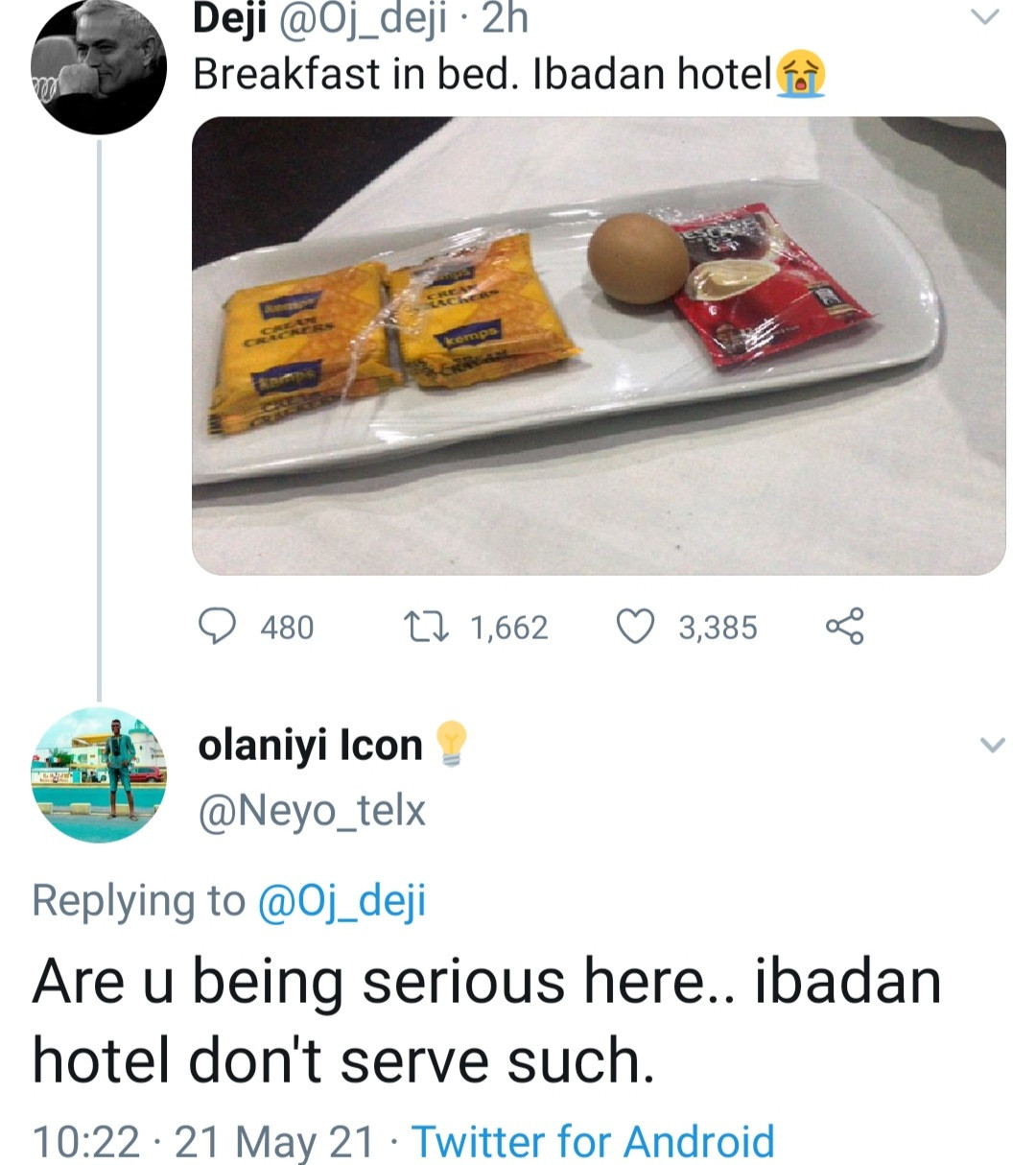 Man shows the breakfast