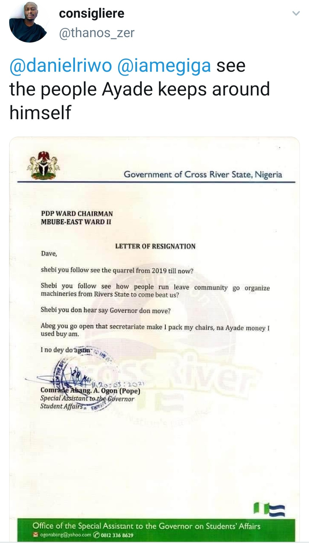 """""""I no dey do again"""" SA to the Cross River State Governor on Student Affairs, Abang Ogon, furiously resigns with letter written in Pidgin English after Ayade"""