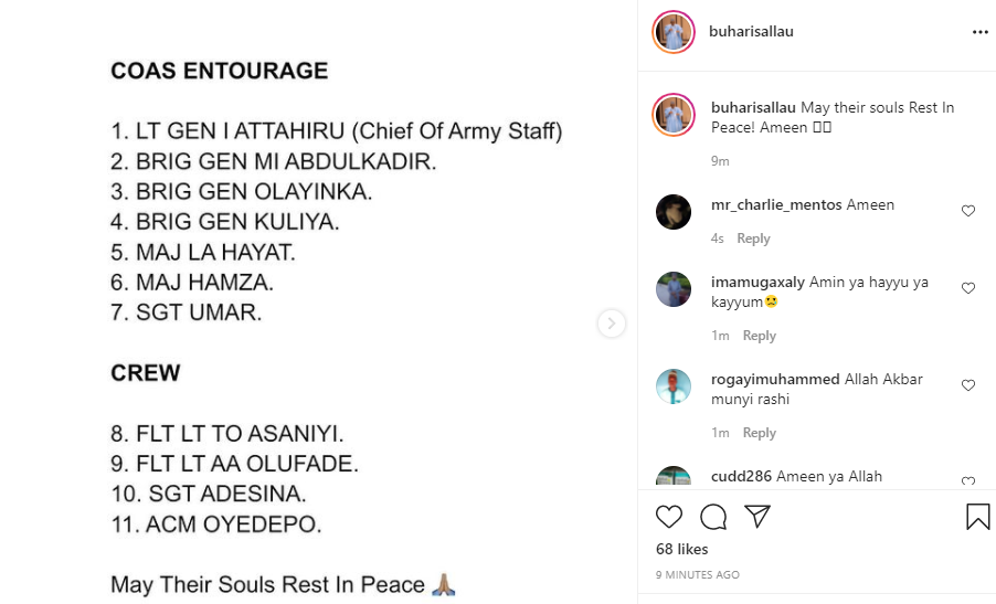 Full list of those who died in the military plane crash involving the Chief of Army Staff