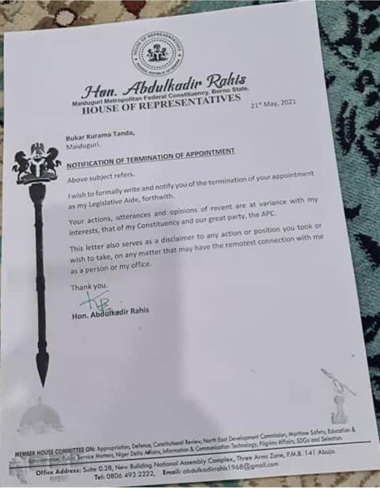 Borno House of Reps member sacks aide for describing Boko Haram leader as 'true hero'