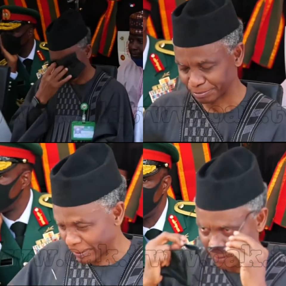Kaduna state governor, Nasir El-Rufai, weeps at the funeral of the Chief of Army Staff, Ibrahim Attahiru