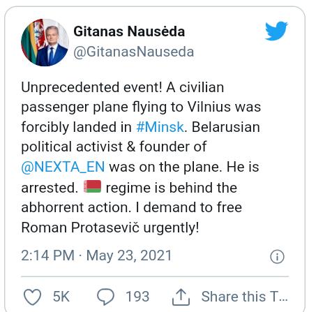 Belarus President uses fighter jet to hijack Ryanair passener flight enroute Lithuania then arrests exiled Journalist/activist, Raman Pratasevich