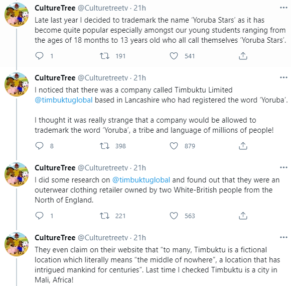 Outrage as Timbuktu Global, owned by two white Brits, trademark the word ?YORUBA? and are opposing anyone else from using it