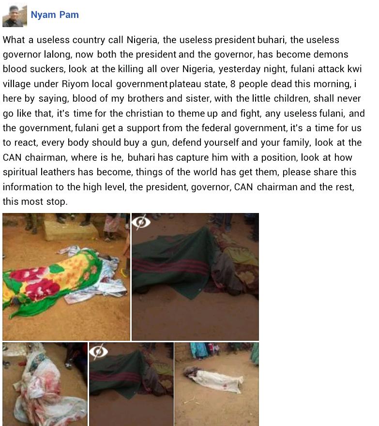 15 including children killed as suspected Fulani militia attack communities in Plateau state