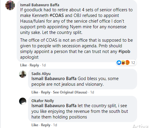 Nigerians react after journalist Jaafar Jaafar asked President Buhari to pick a new Chief of Army Staff from South-East