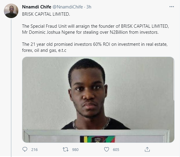 Alleged 'Yahoo Yahoo Boy' known as the 'investment expert' arrested investment fraud of over 2B Naira