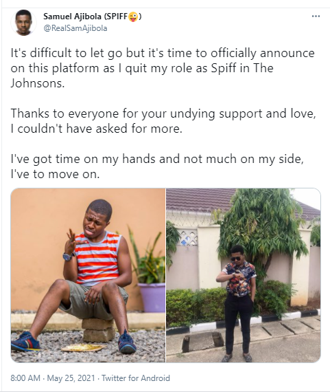 Samuel Spiff Ajibola quits his role in The Johnson TV series
