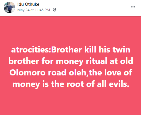 Suspected internet fraudster allegedly kills his twin brother in Delta then sits beside decomposing body