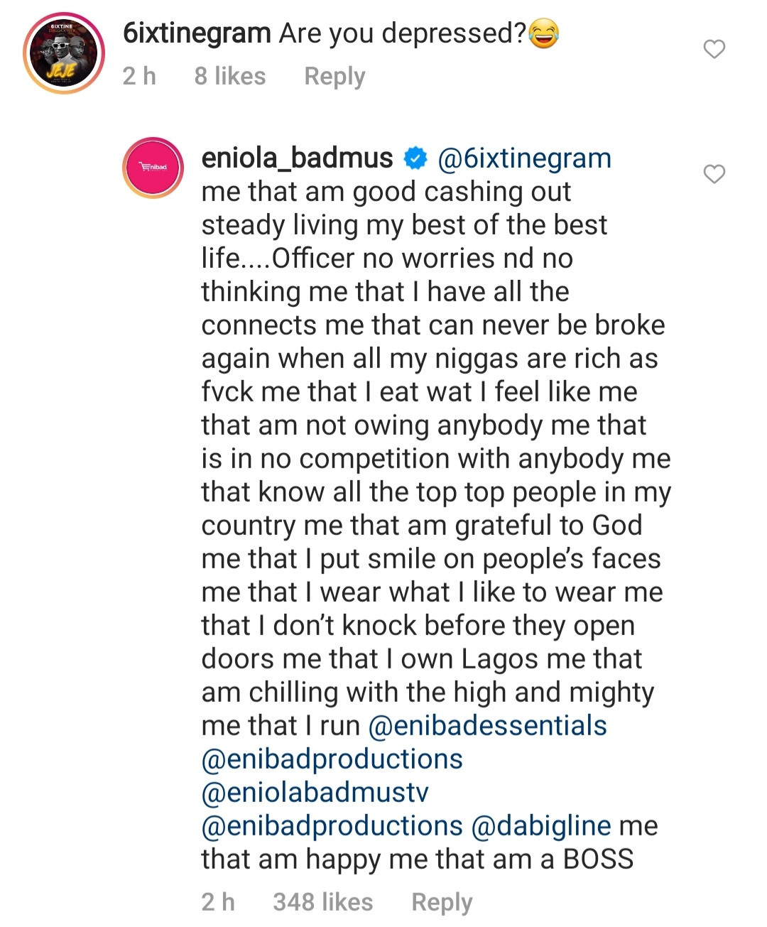 Actress, Eniola Badmus gives interesting response to follower who asked if she