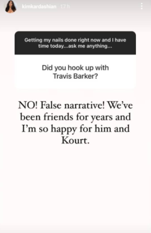 Kim Kardashian reacts to reports that she once had sex with Travis Baker before he started dating her sister Kourtney