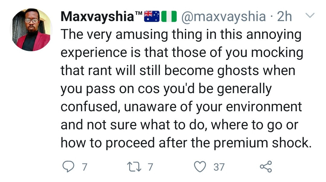 Nigerian medical doctor convinced his house is hunted by a female ghost takes to Twitter to share