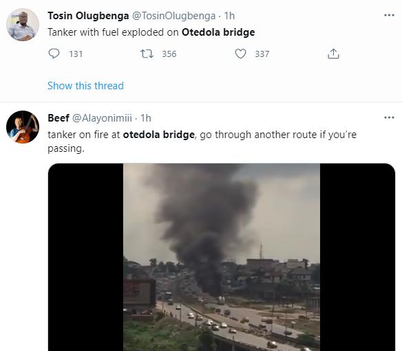 Fuel-laden tanker catches fire today on Otedola bridge (video)