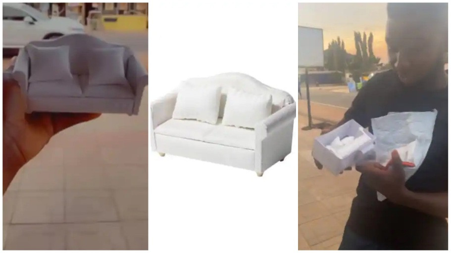 Man shows sofa he ordered online and what was delivered