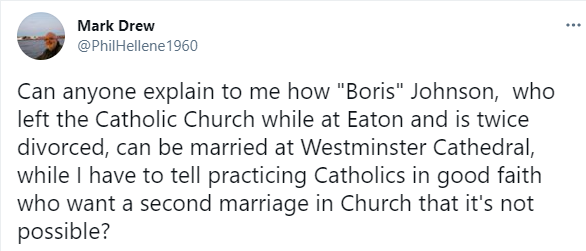 Priest questions why twice-divorced Boris Johnson was allowed to remarry in Catholic church