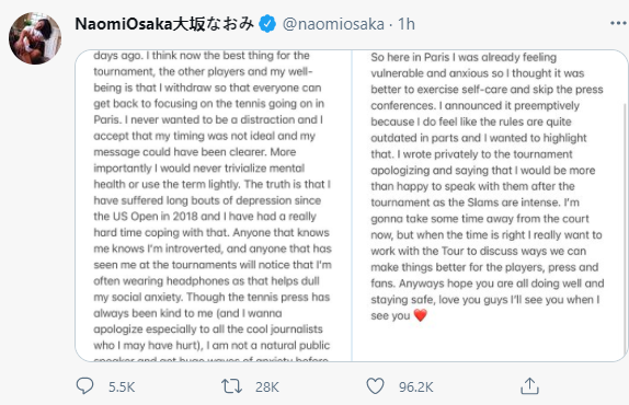 Naomi Osaka withdraws from French open as she reveals she