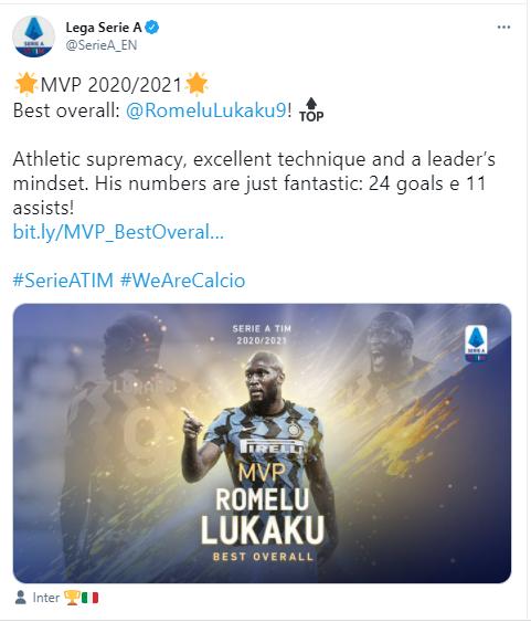 Romelu Lukaku wins Serie A 2020-21 MVP award?