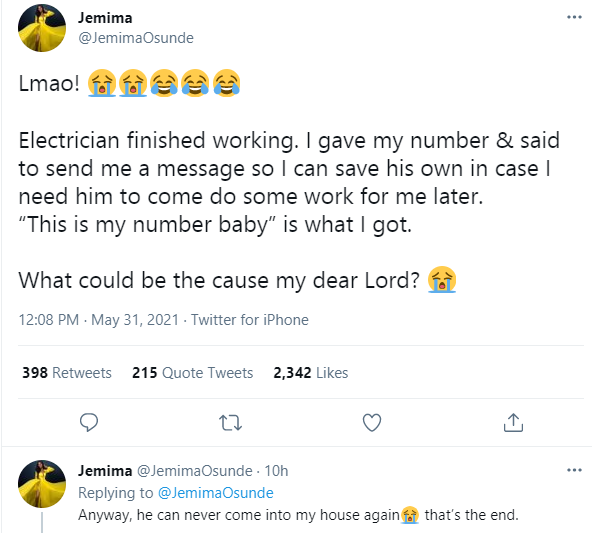 Actress Jemima Osunde shares message she got from an electrician who called her