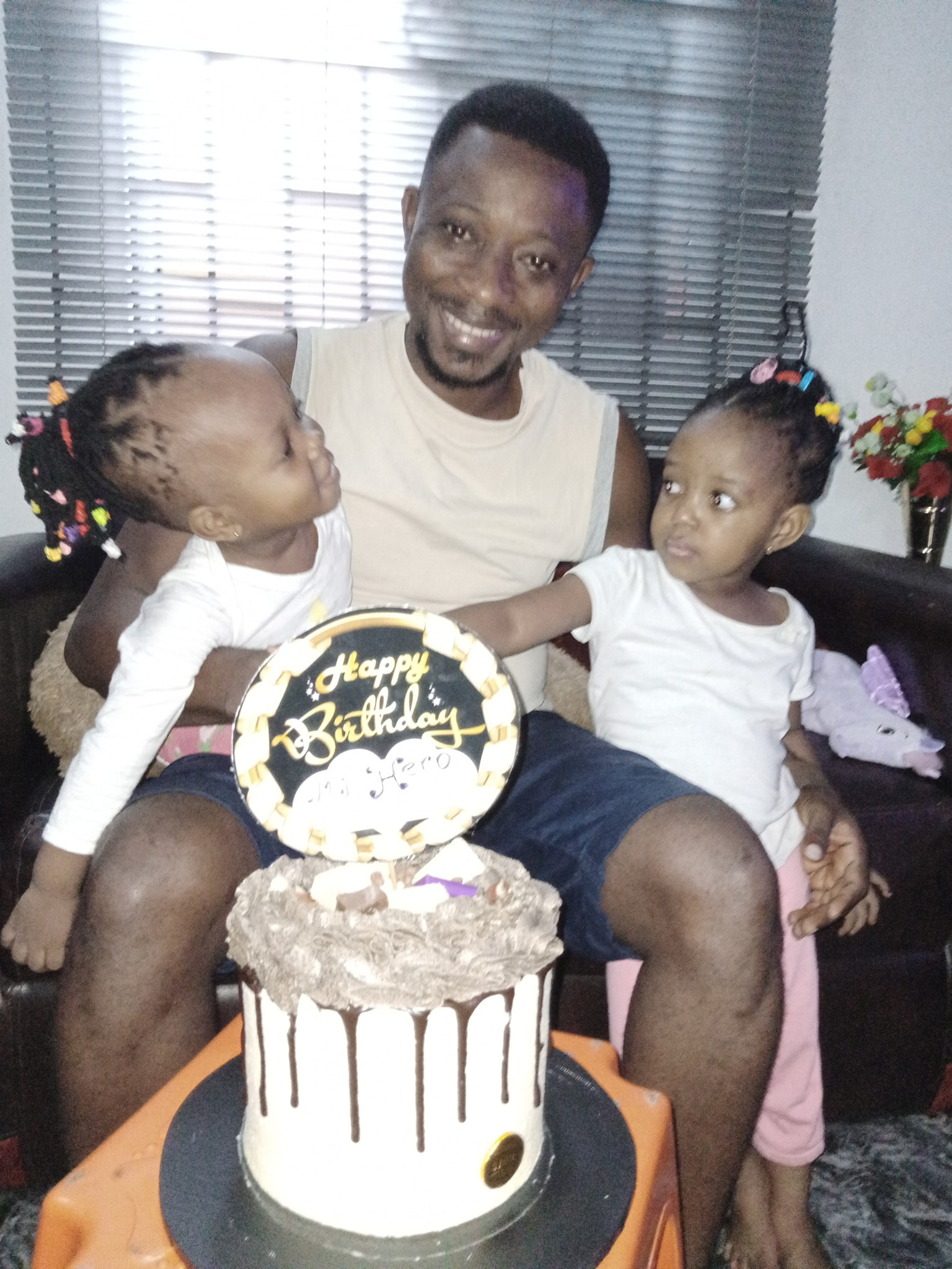 """""""I have never cut a birthday cake since I was born"""" - Nigerian man says as wife surprises him with his first birthday cake"""