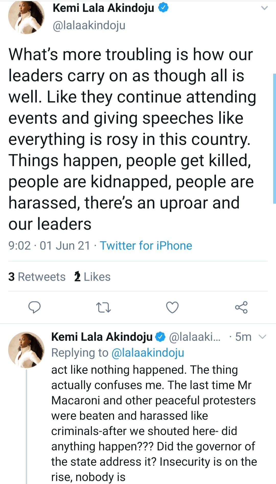 Lala Akindoju criticizes Nigerian leaders for their