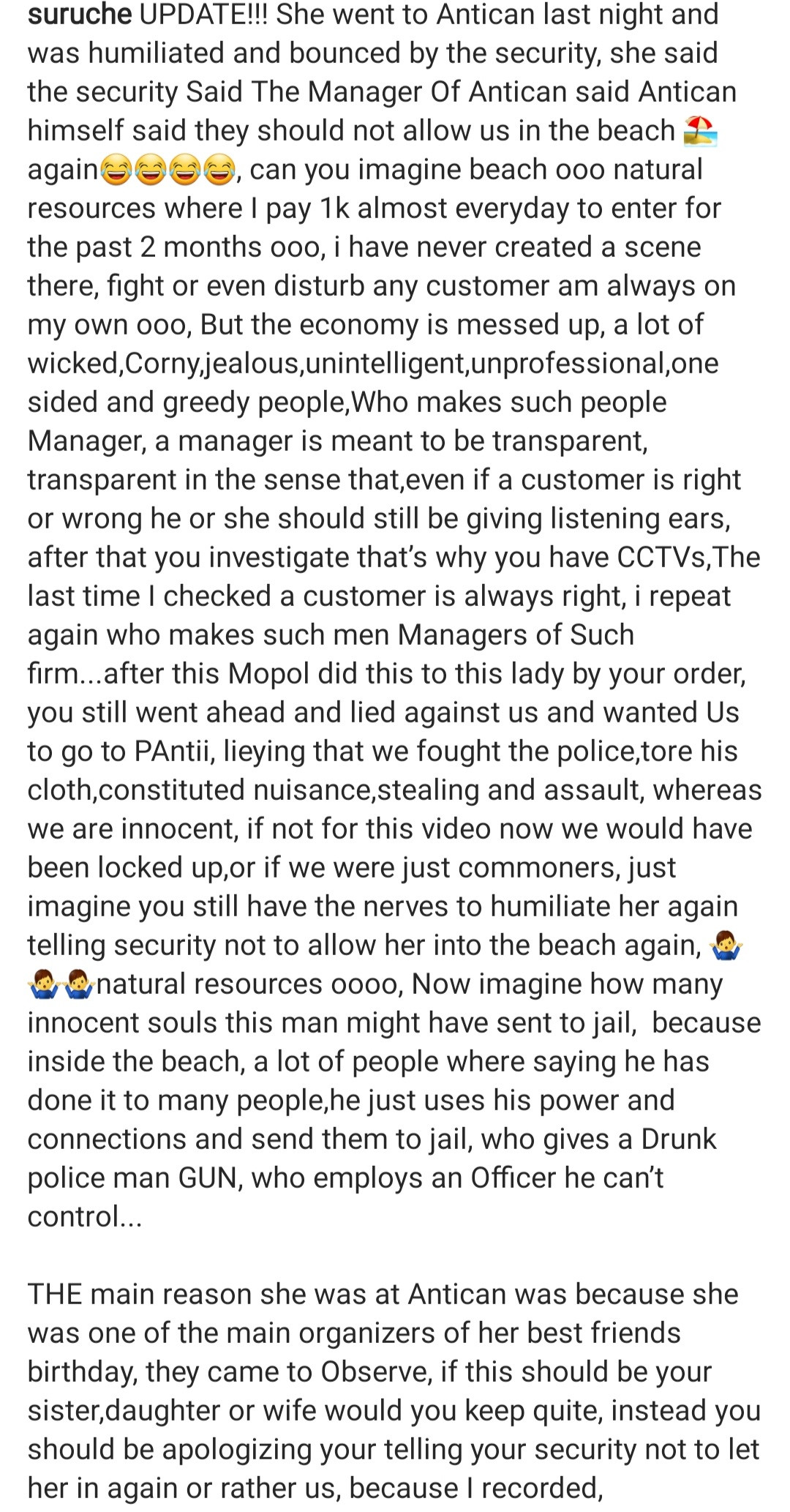 Policeman alleged to be drunk is captured on video assaulting a woman following an altercation at a beach in Lagos (video)