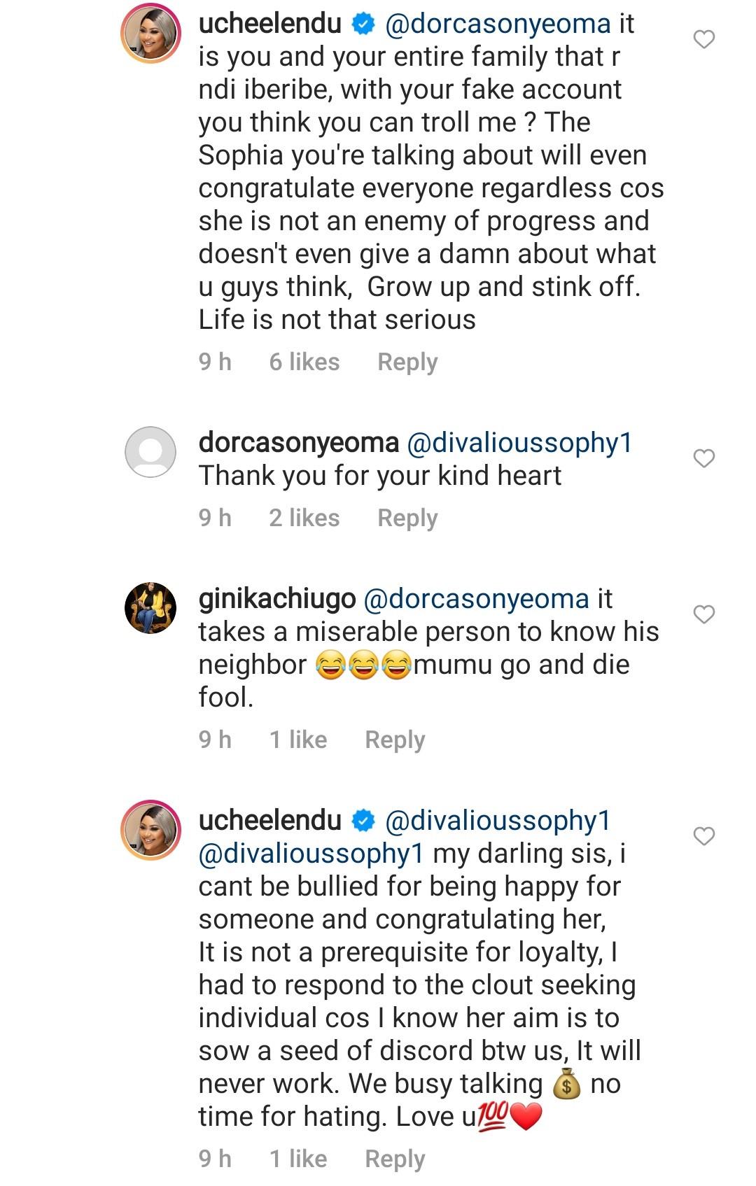 Uche Elendu slams follower who called her out for celebrating Nuella Njubigbo and her estranged husband Tchidi Chikere