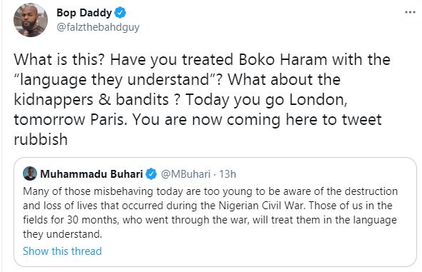 Falz reacts to Buhari