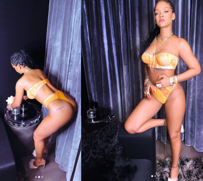 Rihanna flaunts her hot body as she poses in strapless bra and panties in new photos