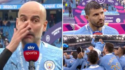 Footballer, Sergio Aguero?s dad accuses Pep Guardiola of faking tears over his son