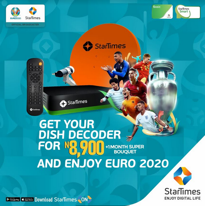 EURO 2020: StarTimes Slashes Decoder Price, Offers All Matches on N1700 Package