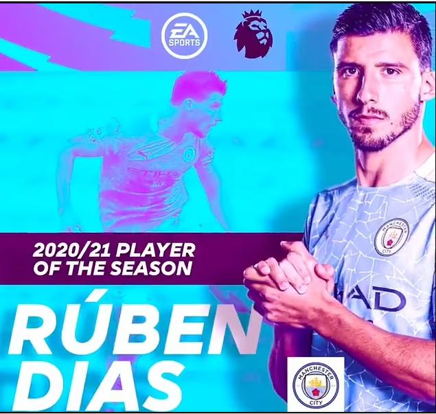 Manchester City defender, Ruben Dias named Premier League Player of the Season