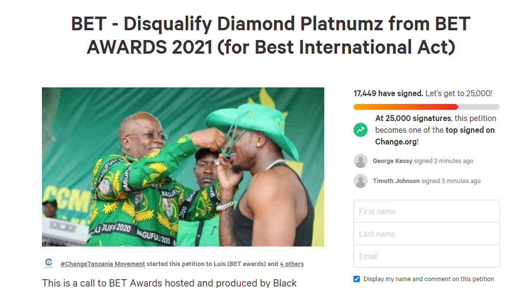 Tanzanians launch petition to have BET disqualify singer, Diamond Platnumz from this year?s Awards