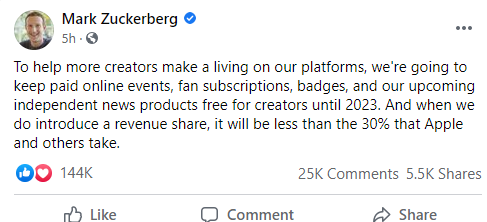 Mark Zuckerberg shades Apple as he announces Facebook creator tools will remain free until 2023
