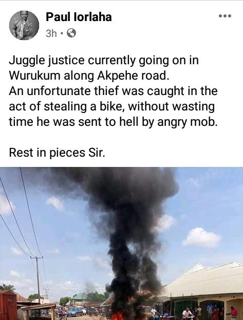 Suspected motorcycle thief set ablaze in Benue