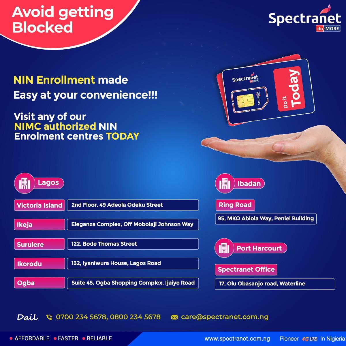 National Identity Management Commission Appoints Spectranet 4G for NIN Enrollment