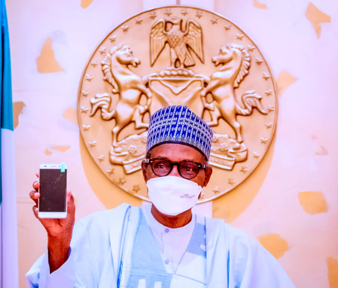Buhari takes delivery of first made-in-Nigeria cell phone