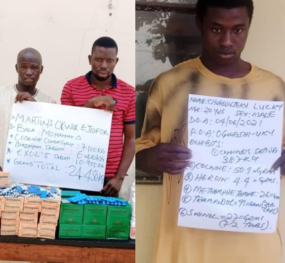 NDLEA arrests two bandits drug suppliers in Niger state and a 20 year old with 38kg of cocaine in Delta (photos)