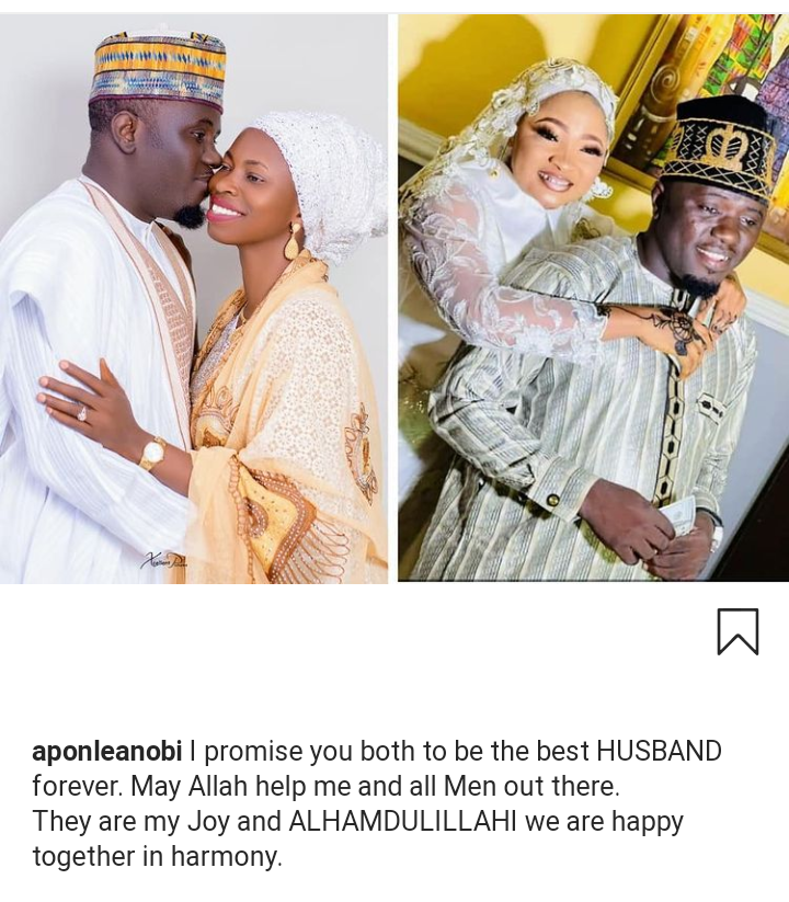 I promise you both to be the best husband ?- Nigerian Islamic singer, Aponle Anobi says as he shares photos with his two wives